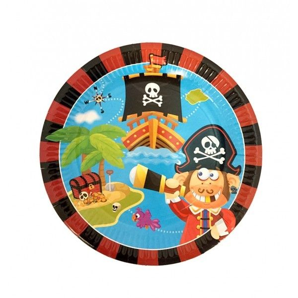 "PLATOS CARTON 23CM 9"" 6PCS PIRATAS"