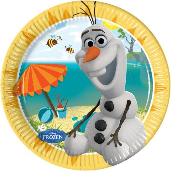 PLATOS DE PAPEL 20CM OLAF SUMMER 8UDS