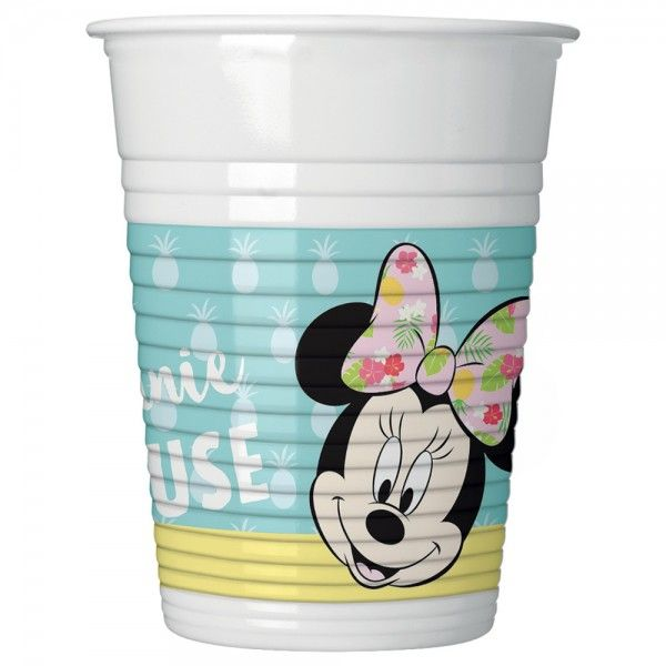 Vaso de plástico minnie mouse tropical pack 6pcs