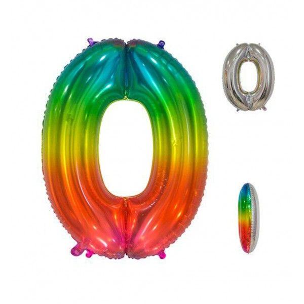 Globo foil multicolor número 0 86cm