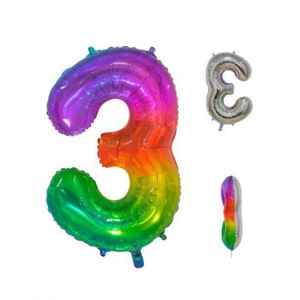 Globo foil multicolor número 3 86cm