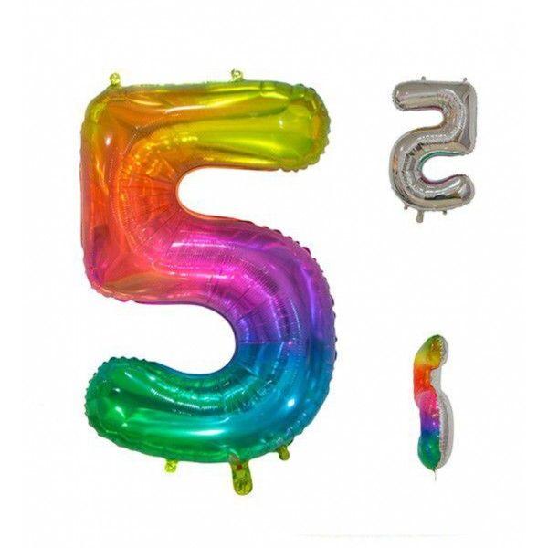 Globo foil multicolor número 5 86cm