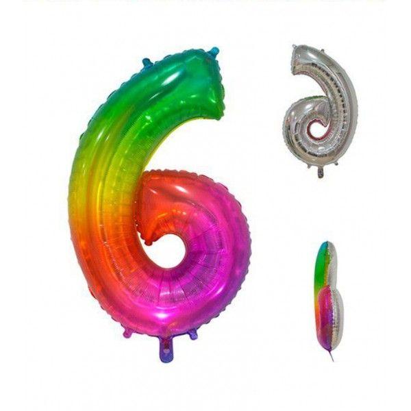 Globo foil multicolor número 6 86cm