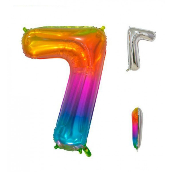 Globo foil multicolor número 7 86cm