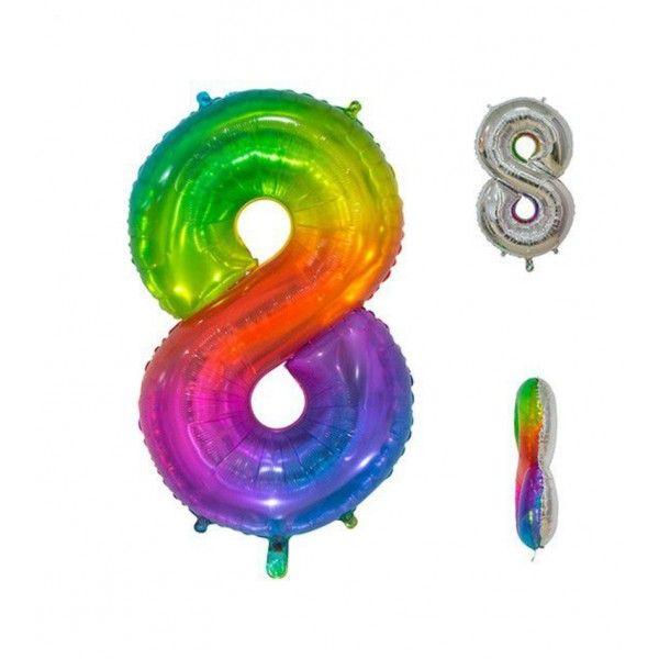 Globo foil multicolor número 8 86cm