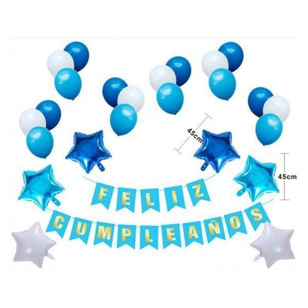 Set de globos azul+guirnalda feliz cumpleaños 40pcs