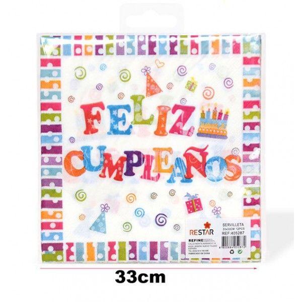 Servilletas feliz cumpleaños colores 33cm