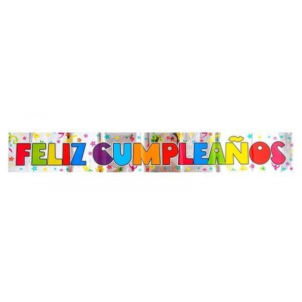 Guirnalda plástico feliz cumpleaños colores 180cm