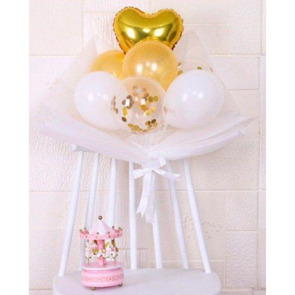 Set de globos blanco oro confeti 16pcs