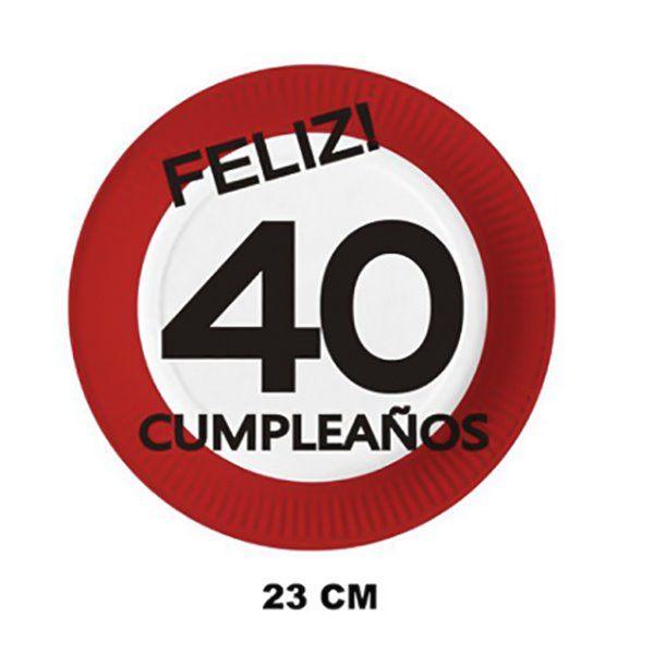 PLATOS DE CARTON 23CM 6PCS 40 AÑOS