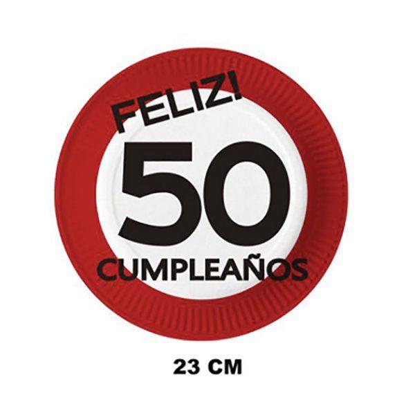 PLATOS DE CARTON 23CM 6PCS 50 AÑOS