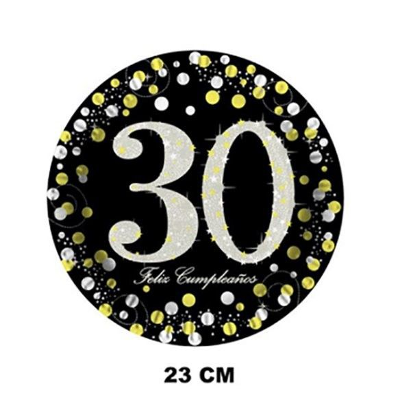 PLATOS DE CARTON 23CM 6PCS 30 AÑOS