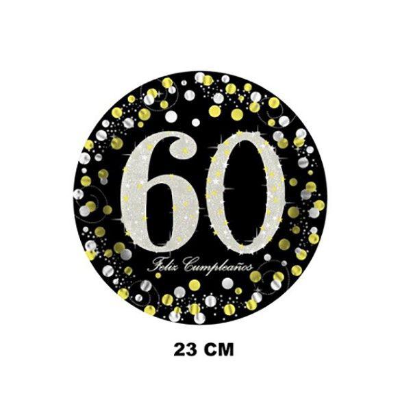 PLATOS DE CARTON 23CM 6PCS 60 AÑOS
