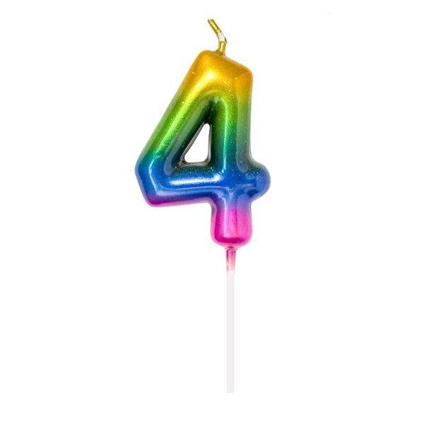 Vela Cumpleanos N.4 Multicolor