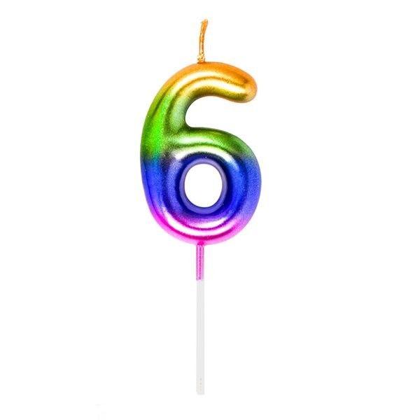 Vela Cumpleanos N.6 Multicolor