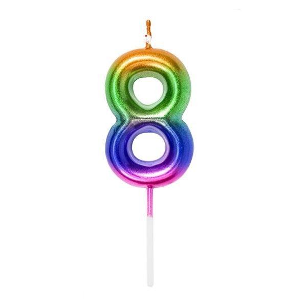 Vela Cumpleanos N.8 Multicolor