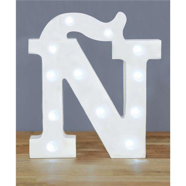 Letra Ñ luz led madera blanco