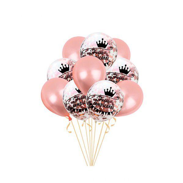 Set de globos feliz cumpleaños rosa oro 10pcs