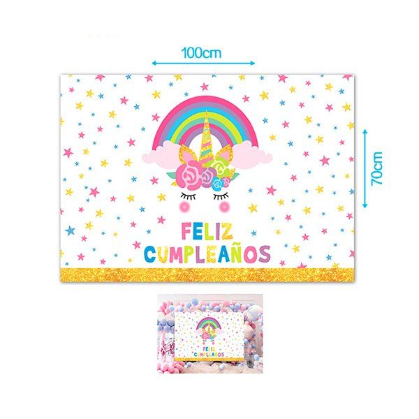 Cartel Feliz cumpleaños 70x100cm Unicornio