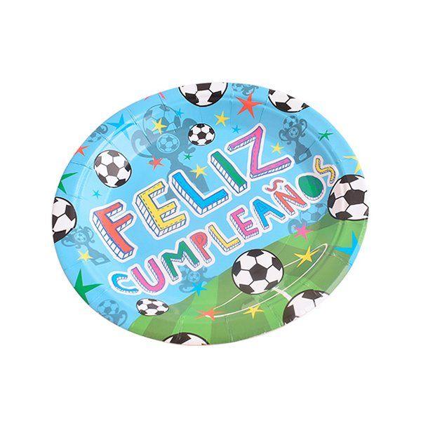Platos postre 17cm 8pcs feliz cumpleaños fútbol