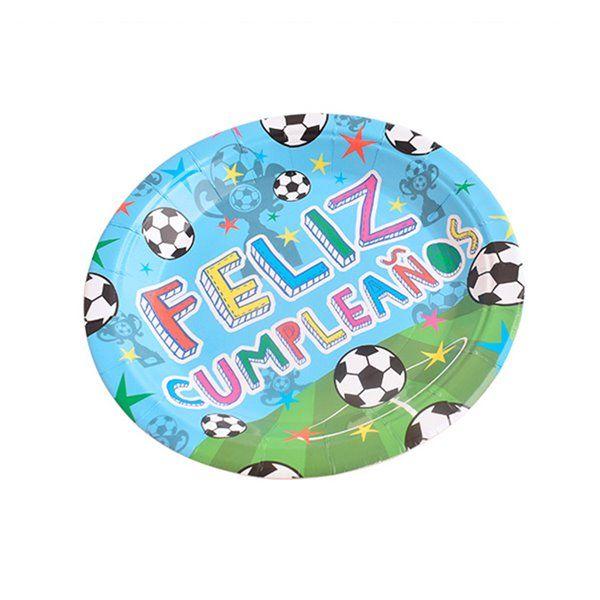 Platos 23cm 6pcs feliz cumpleaños fútbol