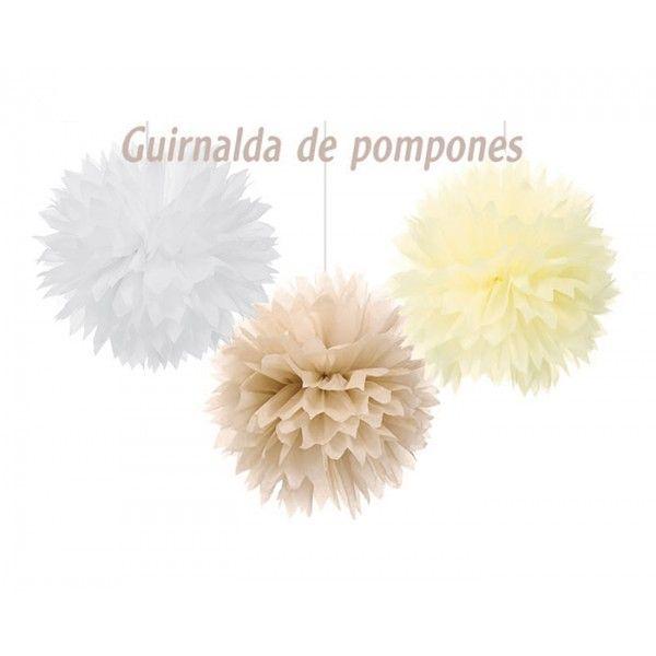 GUIRNALDA DE POMPONES 40.5CM 3PCS BEIGE