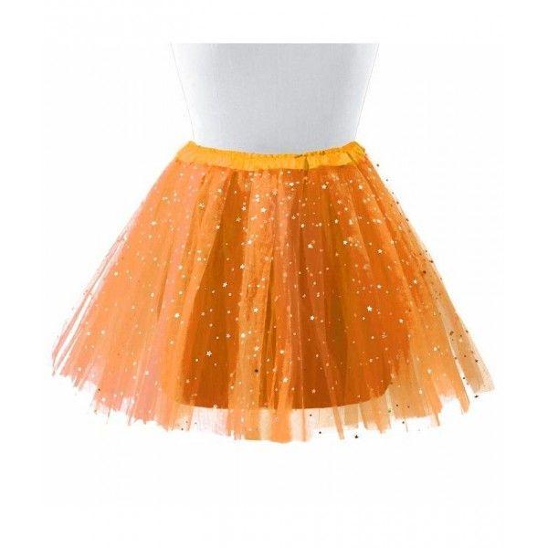 Tutu adulta 40cm naranja con estrellas
