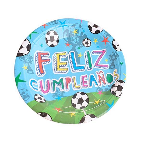 Plato postre 17cm 8pcs feliz cumpleaños fútbol