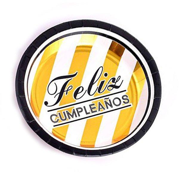 Platos feliz cumpleaños oro+blanco 22.5cm 6pcs