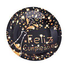 Platos feliz cumpleaños negro-oro 23cm 6pcs