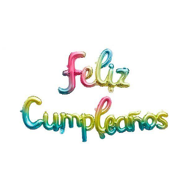 Conjunto globos foil feliz cumpleaños multicolor