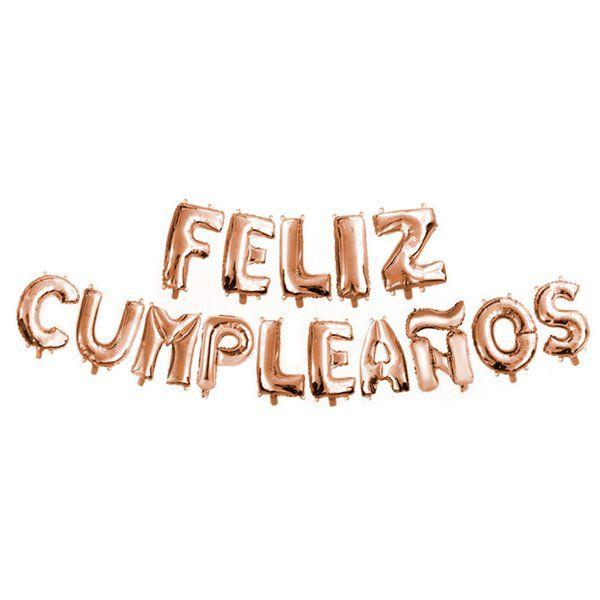 Set globos foil Feliz Cumpleaños rosa oro