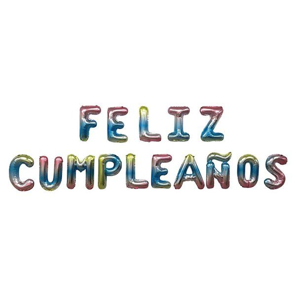 Set globos foil Feliz Cumpleaños multicolor