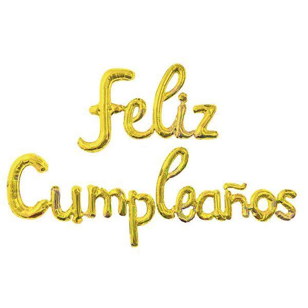 Set globos foil Feliz Cumpleaños oro cursiva