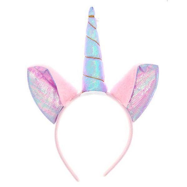 Diadema unicornio orejas rosa lila