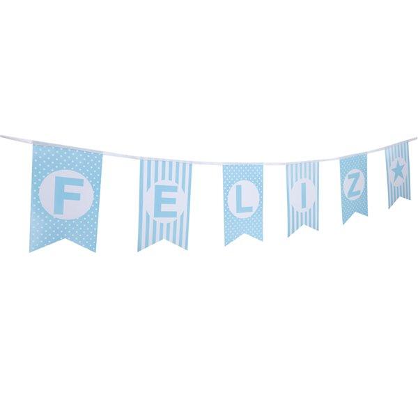 Guirnalda banderines feliz cumpleaños azul 4.8M