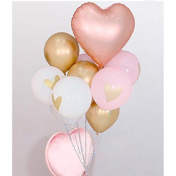 Set de globos rosa oro con corazón 10pcs