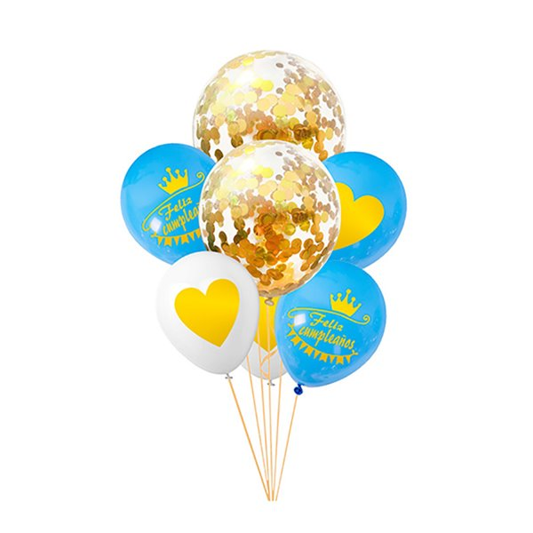 Set de globos azul blanco oro confeti feliz cumpleaños