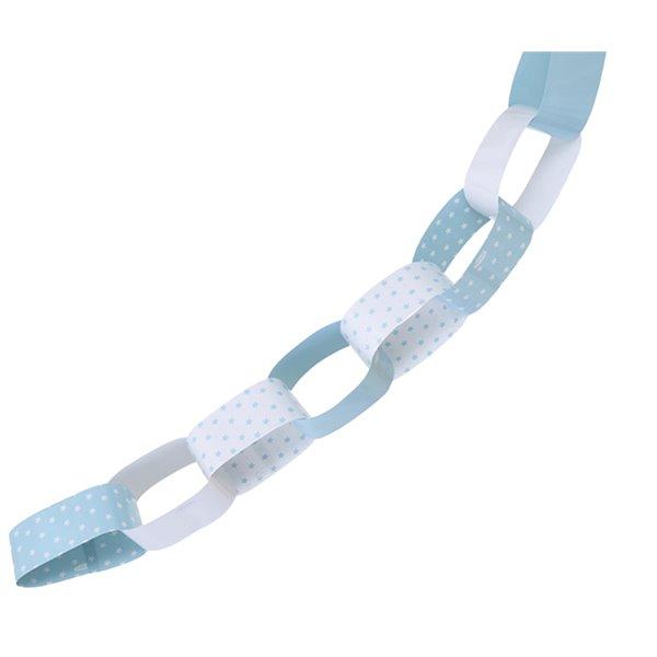 Guirnalda cadena de papel blanco turquesa 4M