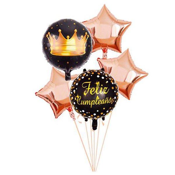 Set de globos de 5pcs feliz cumpleaños negro y rosa oro