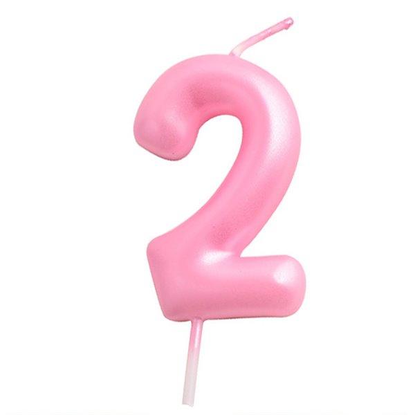 Vela cumpleaños Rosa Número  2