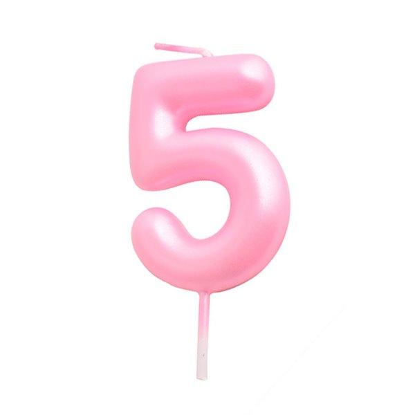 Vela cumpleaños Rosa Número 5