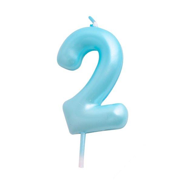 Vela cumpleaños Azul Número  2