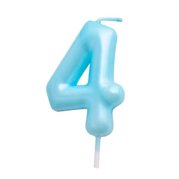 Vela cumpleaños Azul Número  4