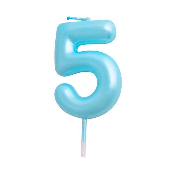 Vela cumpleaños Azul Número  5