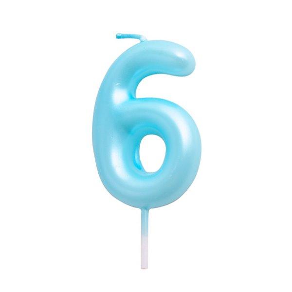 Vela cumpleaños Azul Número  6