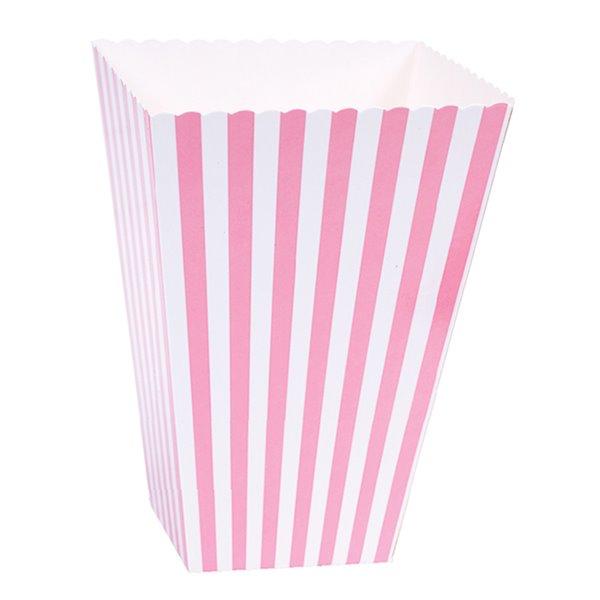 Caja para palomitas rosa pastel rayas 6pcs