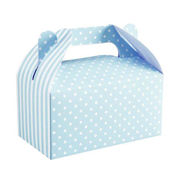 Cajas para pasteles azul lunares 14x8x7cm