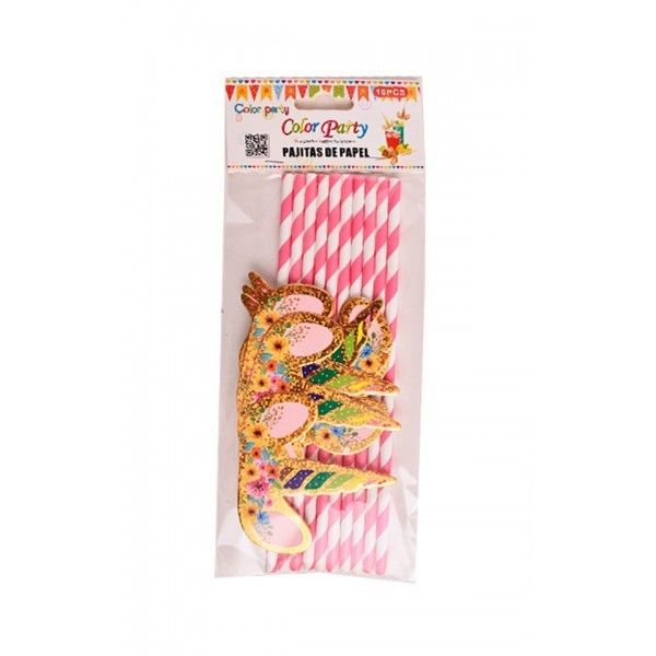 PAJITAS PAPEL UNICORNIO PURPURINA 10PCS