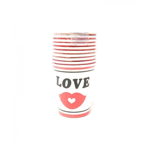 VASOS DE CARTON LOVE MOSTACHO 150ML 10PCS